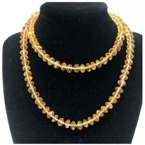 VINTAGE NATURAL CITRINE FACETED BEAD NECKLACE